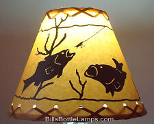 "FISH Table Light LAMP SHADE Clip-On Bulb Style 7"" inch Laced Cone Cabin Cottage"