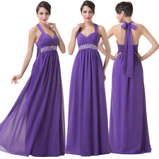 Clearance Halter Long Formal Ball Gown Evening Party Wedding Bridesmaid Dresses