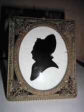 ANTIQUE VICTORIAN RICHARDS ORNATE BRASS PHOTO FRAME SILHOUETTE PAINTING -GERMANY