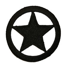 Black Ring Circle Star Texas Ranger Sheriff Police Badge Iron On Applique Patch