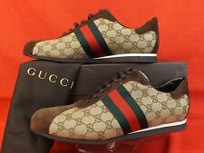 NIB GUCCI BROWN CANVAS SUEDE GG GUCCISSIMA ICON LACE UP WEB SNEAKERS 13.5 14.5