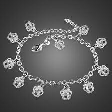 Charm Solid Sterling Silver Crown Pendant O Chain Anklet Lady's Bracelet B248