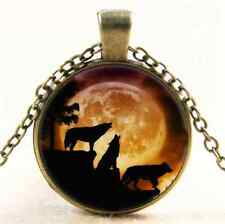 Vintage Wolf and the Moon Photo Cabochon Glass Bronze Chain Pendant Necklace