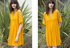 ZARA MUSTARD YELLOW COMBINED LACE GUIPURE TIE NECKLINE BLOGGERS DRESS S 8 10!
