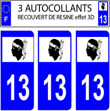 3 sticker plaque immatriculation auto DOMING 3D RESINE DRAPEAU CORSE  DEPARTE 13