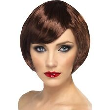 WOMEN'S BROWN BABE SHORT BOB WIG FANCY DRESS PARTY COLOUR BRUNETTE