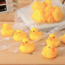 10pcs Baby Bathing Bath Tub Toys Mini Rubber Squeaky Float Duck Yellow DI