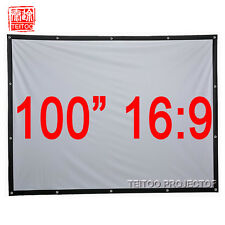 "100""16:9 White Canvas Portable Projection Screen to Home Theater Movie Projector"