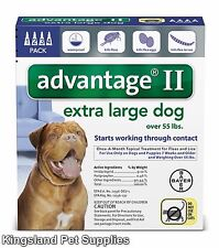 Advantage II for Extra Large Dogs (Over 55 lbs, 4 Month Supply) USA EPA APPROVED