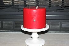 "PARTY LITE  6""X5"" 3-WICK PILLAR -Scent-Cinnamon Sparkle White Washed Base"
