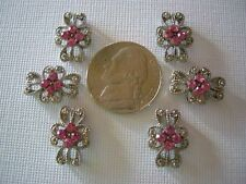 2 Hole Slider Beads Curls Pink Crystal Made with Swarovski Elements #6