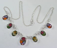 "925 sterling silver necklace with oval shaped pieces and real flowers 18"" long"