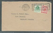 FALKLAND ISLANDS  (P2408B) 1929 INCOMING COVER FROM ENGLAND KGV PUC 1/2D,1D