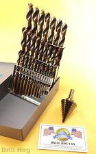 Drill Hog USA 29 Pc HI-Molybdenum Drill Bit Set M7 Step Drill Lifetime Warranty