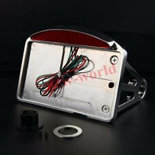Chrome Motorcycle Side Mount License Plate Frame Holder Bracket LED Tail Light