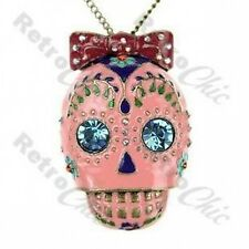 BIG CRYSTAL rhinestone VINTAGE retro PINK SUGAR SKULL PENDANT chain NECKLACE
