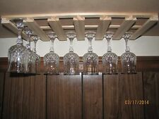 "18 wine glass stemware holder 9"" deep - under cabinet wood unfinished"