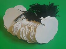 """100 1 1/2  x 1 1/2"""" small ornate oval white price tags with string"""