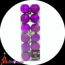 Decoraciones de Navidad - 12 Pack Púrpura Brillo & Llano Baubles - 30mm