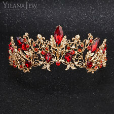 Vintage Red Crystal Gold-tone Head Crown for Women Wedding Bridal Hair Tiara