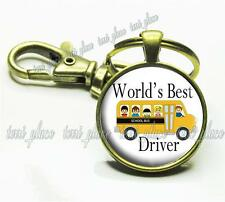 World's Best School Bus Driver Glass Key Chain Kids School Appreciation Gift