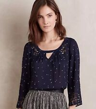 MAEVE ANTHROPOLOGIE M Star Long Sleeve Cutout Silky Blouse Women's 8 Blue