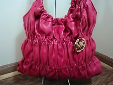 Michael by Michael Kors Cranberry Red Leather Lincoln Park Scrunchy Shoulder Bag