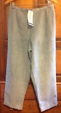 New! Alfred Dunner Womens Dress Pants Size 12P Petite, Green Blue, Faux Suede