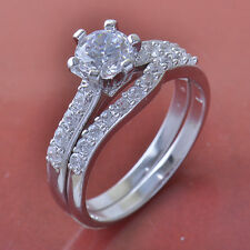 14K White Gold Plated Crystal 2-Ring Wedding Engagement Set promise Size 6 Rings