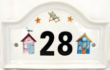 Beach Huts House Door Number Plaque Porcelain Plaque Any Number Decorated in UK