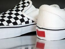 VANS CLASSIC WOMENS SLIP ON WOVEN CANVAS CHECKERBOARD BLACK WHITE SIZE 5.5 US