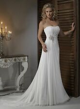 Ivory Chiffon Wedding Dress Size 14 UK Seller