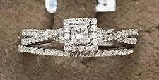 10k White Gold Diamond Princess Cut Halo Engagment Wedding Ring Set