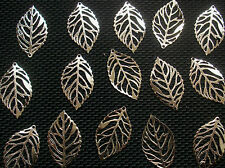 25 Veined Leaf Charms Silver Tone Metal 24mm