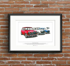 The Italian Job - Austin Mini Cooper S Mk1 - ART POSTER A2 size