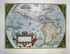 1603 Ortelius Map NORTH & SOUTH AMERICA Western Hemisphere SUPREMELY DECORATIVE!