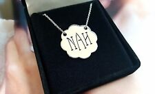 .925 Sterling Silver Monogram Necklace Personalized Name Plate Necklace Initial