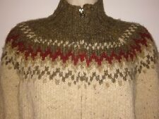 Abercrombie & Fitch Full Zip Chunky Knit Wool Blend Nordic Style Sweater Women L