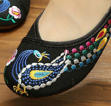 IRREGULAR PEACOCK FEATHER HANDMADE CANVAS FLATS SHOES SIZE 5 CELEBS CHOICE