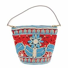 NWT £1300 DOLCE & GABBANA BAG INGRID Floral Raffia Bucket Tote Striped Woven