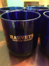 Harveys Bristol Cream Cobalt Blue Glasses Tumblers Lo Ball Set Of 4