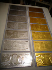 14 -GOLD & SILVER DOLLAR BILL SET $1-2-5-10-20-50-100 & EACH IN PVC BILL HOLDER*
