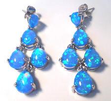 Splendido Blu Opale di Fuoco Orecchini a perno.