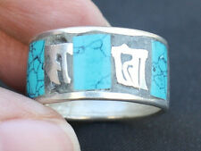Wide Nepal 925 Silver Plated Turquoise Inlay Spaced OM Mani Padme Hum Ring
