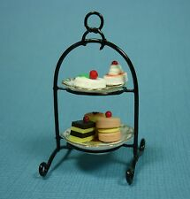 Dollhouse Miniature 2-Tier Cake Plate Set Doll House Furniture
