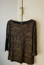 Ralph Lauren Womens Size M Gold/Black Long Sleeve Scoopneck Shirt