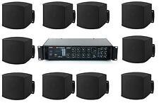 Sistema filodiffusione kit audio 10 diffusori da MURO neri e amplificatore Radio