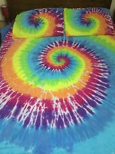Rainbow hand tie dye duvet cover and pillowcases Double 100% brushed cotton