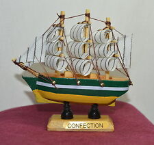"New VINTAGE Nautical Wooden Wood Ship Sailboat Boat Home Model Decor 3.5"" #4"