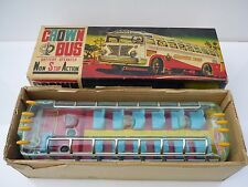 1960  Vintage Yonezawa Alps Tin Crown Bus Battery Operated Toy Works Japan Rare
